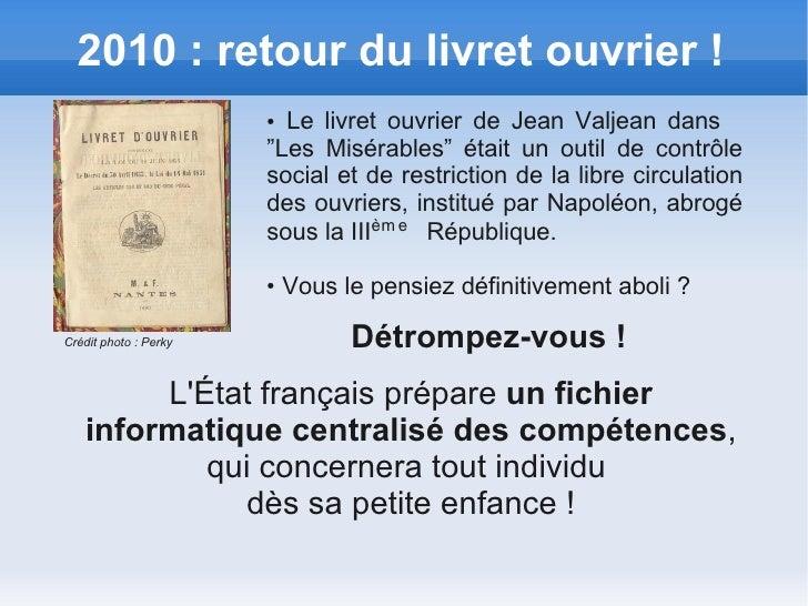 """2010 : retour du livret ouvrier !                       ● Le livret ouvrier de Jean Valjean dans                       """"Le..."""