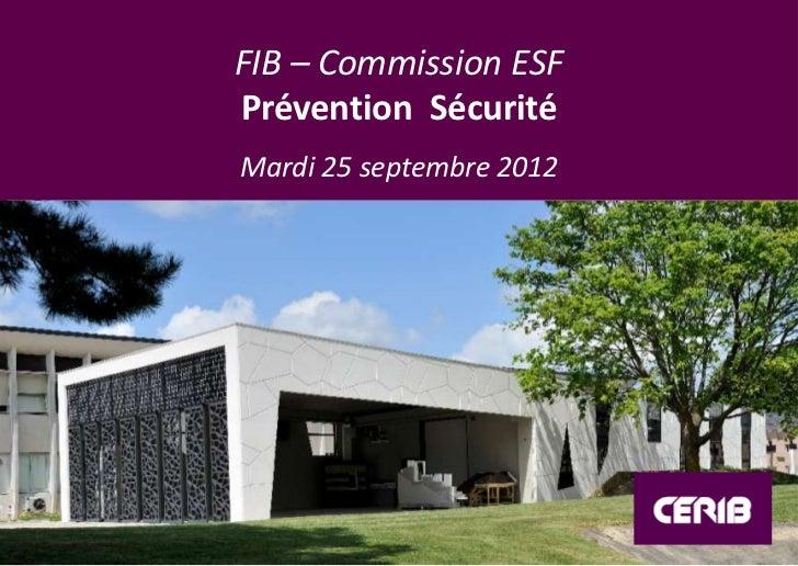 FIB – Commission ESFPrévention SécuritéMardi 25 septembre 2012