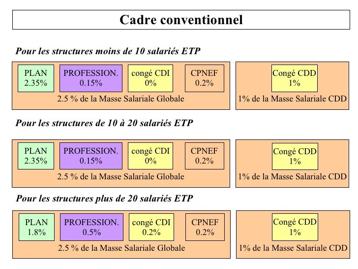 Cadre conventionnel Pour les structures moins de 10 salariés ETP Pour les structures de 10 à 20 salariés ETP 1% de la Mass...