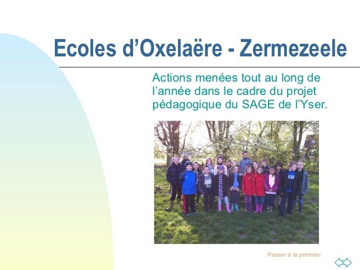 Ecoles d'Oxelaëre - Zermezeele Actions menées tout au long de l'année dans le cadre du projet pédagogique du SAGE de l'Yser.
