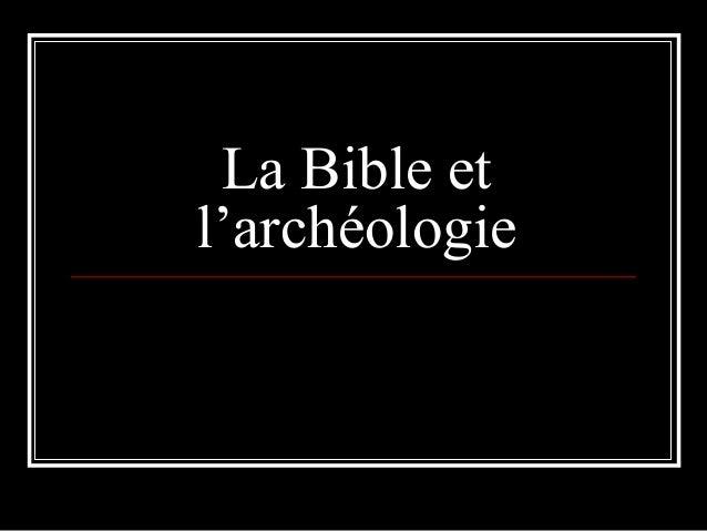 La Bible et l'archéologie