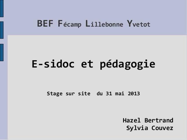 BEF Fécamp Lillebonne YvetotE-sidoc et pédagogieStage sur site du 31 mai 2013Hazel BertrandSylvia Couvez