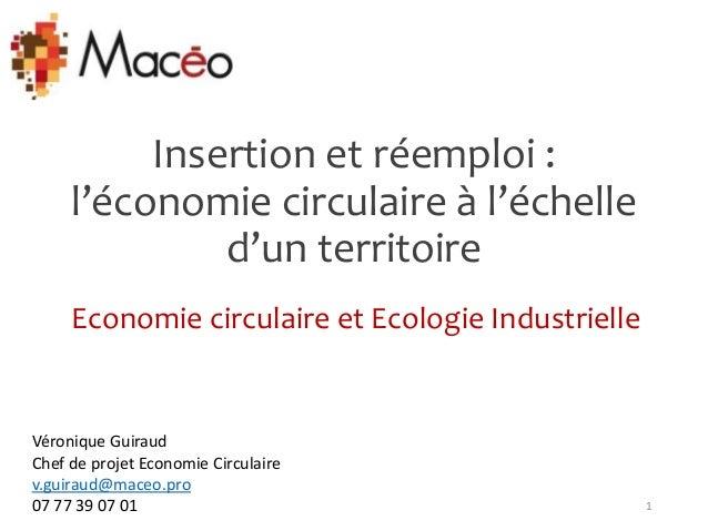 Insertion et réemploi : l'économie circulaire à l'échelle d'un territoire Economie circulaire et Ecologie Industrielle 1 V...