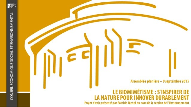 LE BIOMIMÉTISME : S'INSPIRER DE LA NATURE POUR INNOVER DURABLEMENT Assemblée plénière – 9 septembre 2015 Projet d'avis pré...