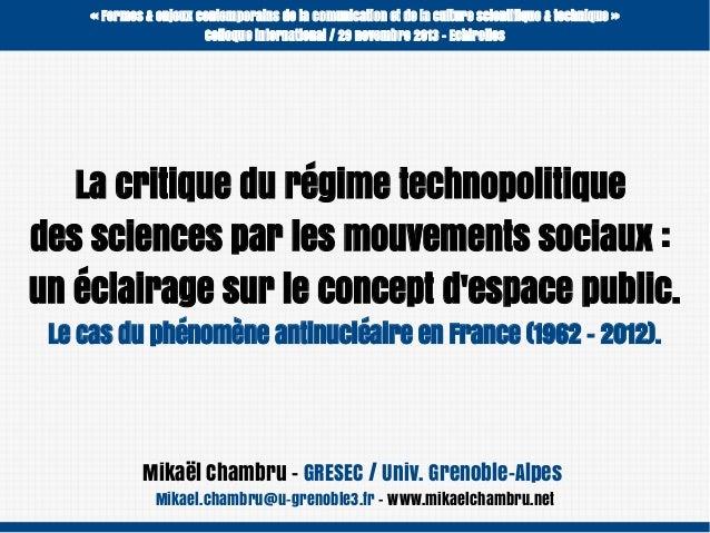 «Formes & enjeux contemporains de la comunication et de la culture scientifique & technique» Colloque international / 29...