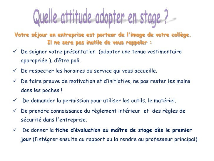Diaporama stage 3 me for Exemple de reglement interieur entreprise