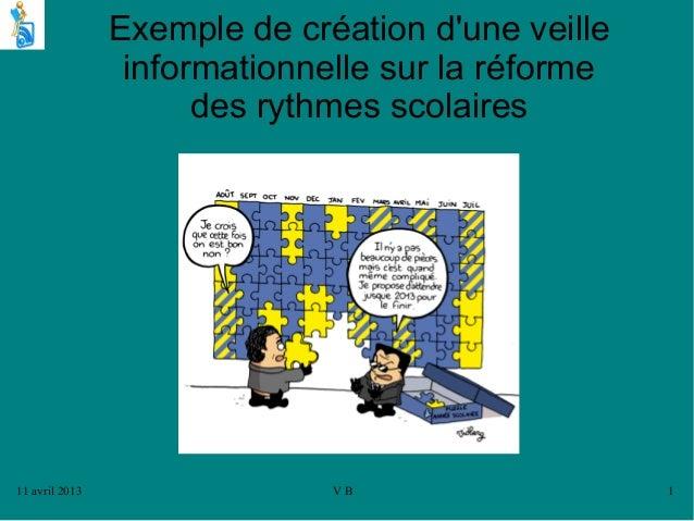 11 avril 2013 V B 1Exemple de création dune veilleinformationnelle sur la réformedes rythmes scolaires