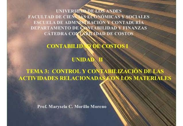 UNIVERIDAD DE LOS ANDES FACULTAD DE CIENCIAS ECONÓMICAS Y SOCIALES ESCUELA DE ADMNISTRACIÒN Y CONTADURÍA DEPARTAMENTO DE C...
