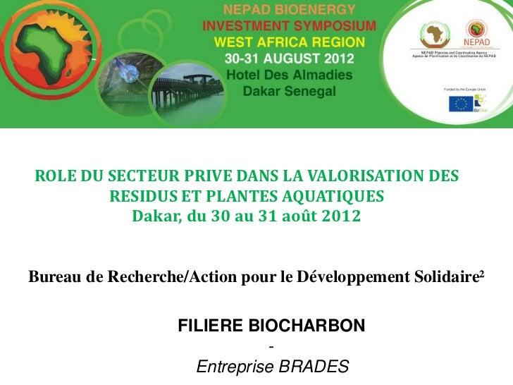 ROLE DU SECTEUR PRIVE DANS LA VALORISATION DES        RESIDUS ET PLANTES AQUATIQUES           Dakar, du 30 au 31 août 2012...