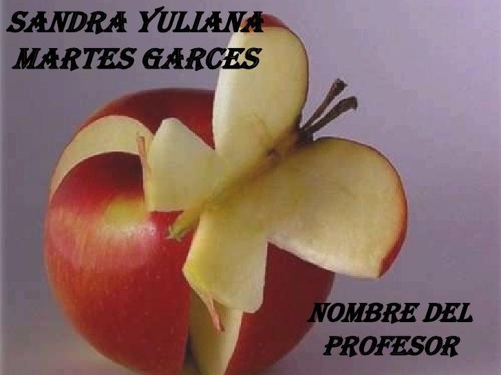 SANDRA YULIANA MARTES GARCES<br />NOMBRE DEL PROFESOR<br />