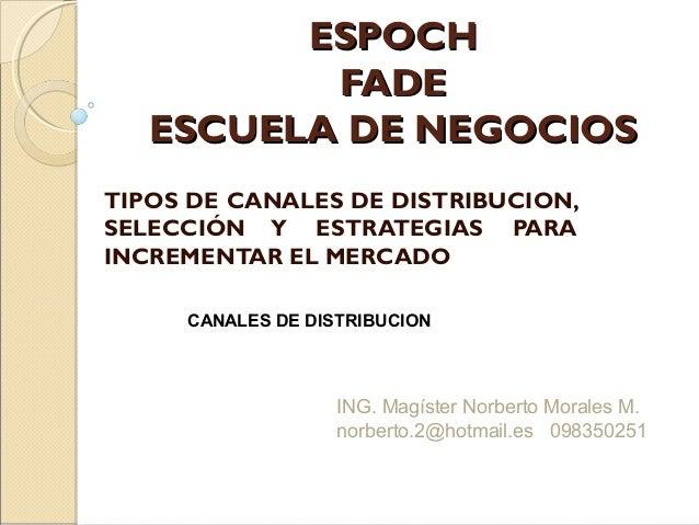 ESPOCHESPOCH FADEFADE ESCUELA DE NEGOCIOSESCUELA DE NEGOCIOS TIPOS DE CANALES DE DISTRIBUCION, SELECCIÓN Y ESTRATEGIAS PAR...
