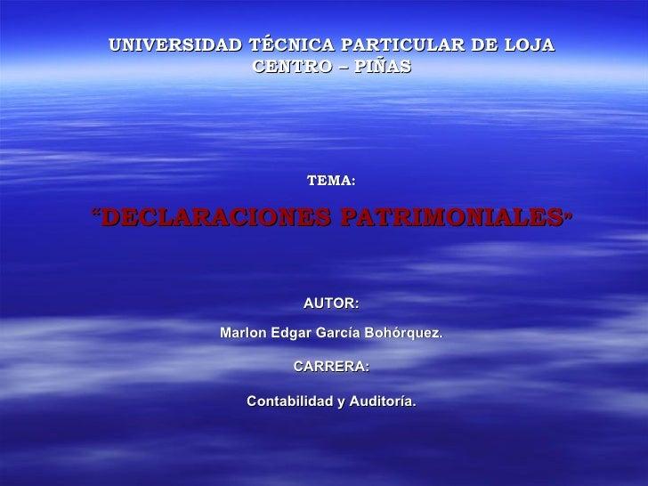 Diapositiva Declaraciones Patrimoniales