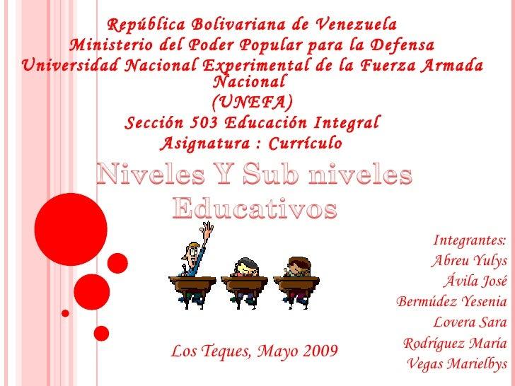 República Bolivariana de Venezuela Ministerio del Poder Popular para la Defensa  Universidad Nacional Experimental de la F...