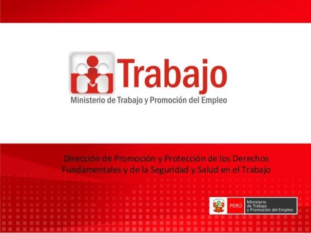 Dirección de Promoción y Protección de los DerechosFundamentales y de la Seguridad y Salud en el Trabajo