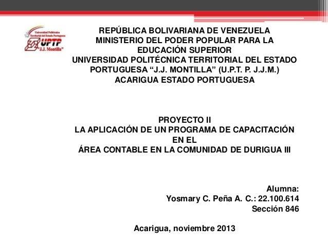 REPÚBLICA BOLIVARIANA DE VENEZUELA MINISTERIO DEL PODER POPULAR PARA LA EDUCACIÓN SUPERIOR UNIVERSIDAD POLITÉCNICA TERRITO...