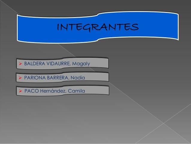 INTEGRANTES  BALDERA VIDAURRE, Magaly  PARIONA BARRERA, Nadia  PACO Hernández, Camila