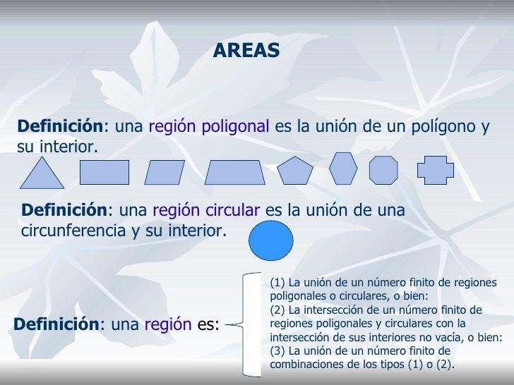 AREAS Definición : una  región poligonal  es la unión de un polígono y su interior. Definición : una  región circular  es ...