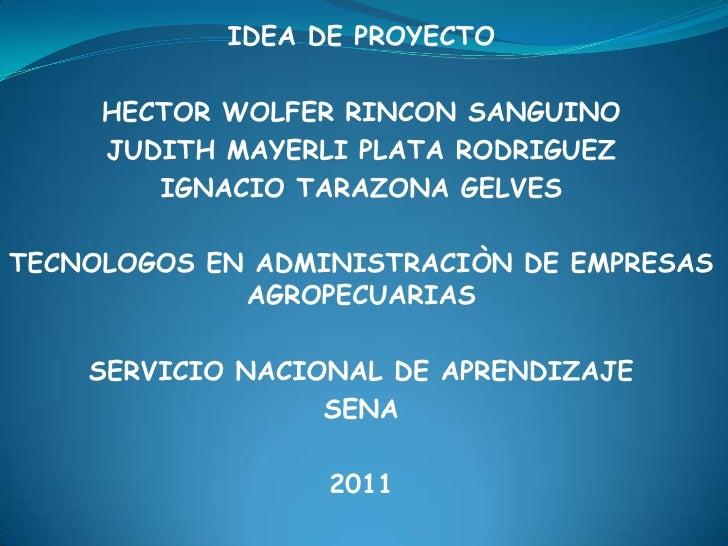 IDEA DE PROYECTO<br />HECTOR WOLFER RINCON SANGUINO<br />JUDITH MAYERLI PLATA RODRIGUEZ<br />IGNACIO TARAZONA GELVES<br />...