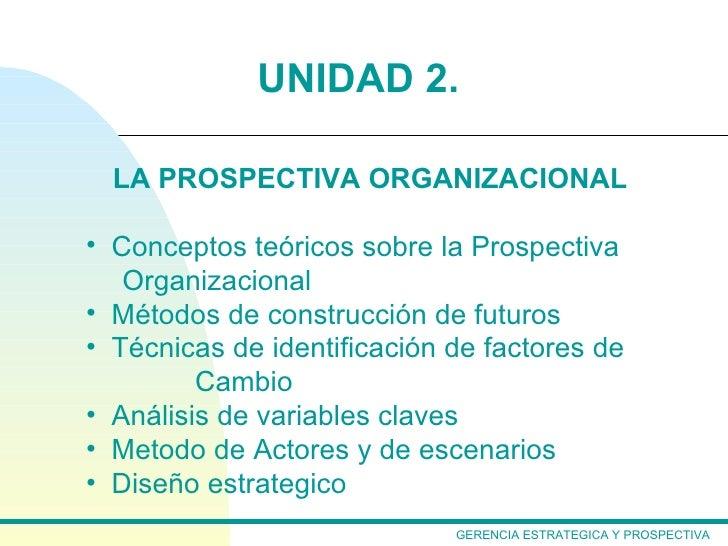 UNIDAD 2.  LA PROSPECTIVA ORGANIZACIONAL• Conceptos teóricos sobre la Prospectiva   Organizacional• Métodos de construcció...
