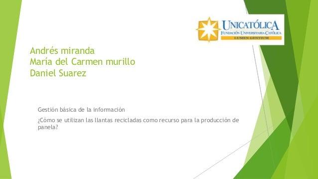 Andrés miranda María del Carmen murillo Daniel Suarez Gestión básica de la información ¿Cómo se utilizan las llantas recic...