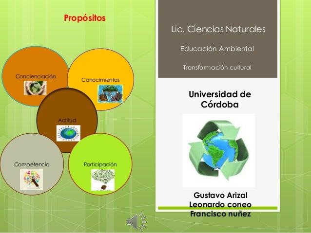 Lic. Ciencias Naturales Educación Ambiental Transformación cultural Universidad de Córdoba Gustavo Arizal Leonardo coneo F...