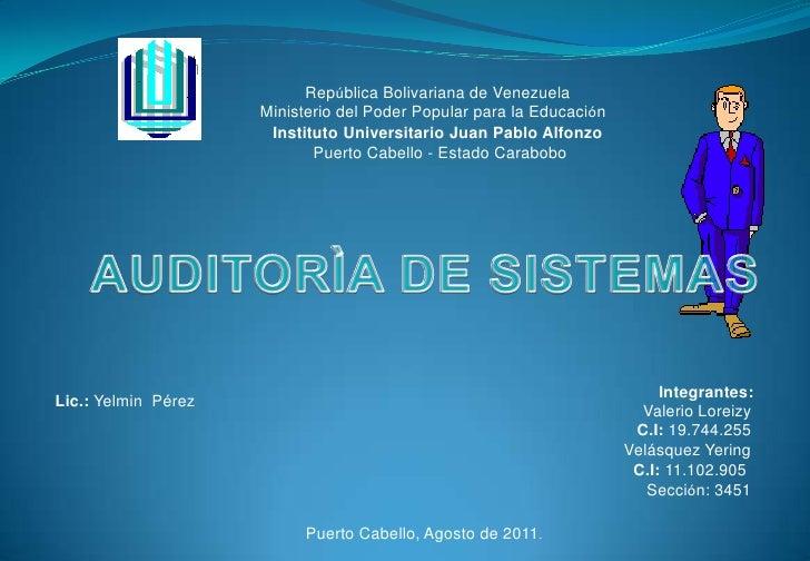 República Bolivariana de Venezuela<br /> Ministerio del Poder Popular para la Educación<br />Instituto Universitario Juan ...