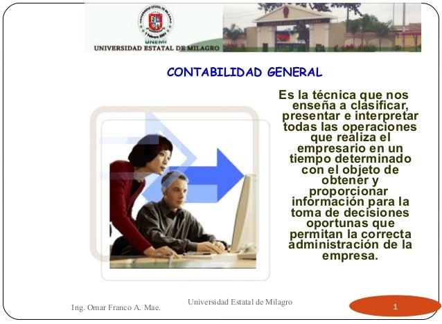 CONTABILIDAD GENERAL Es la técnica que nos enseña a clasificar, presentar e interpretar todas las operaciones que realiza ...