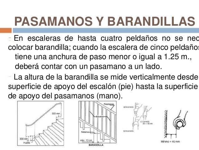 Escalones y escaleras for Altura pasamanos escalera