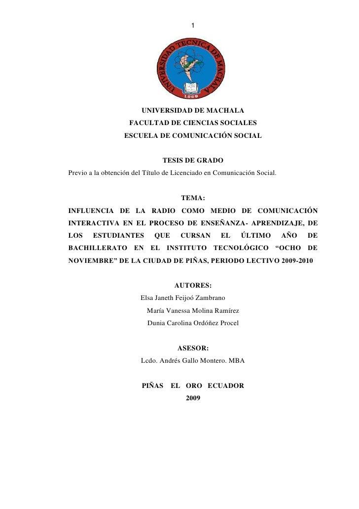 1843066-653371<br />UNIVERSIDAD DE MACHALA<br />FACULTAD DE CIENCIAS SOCIALES<br />ESCUELA DE COMUNICACIÓN SOCIAL<br />TES...