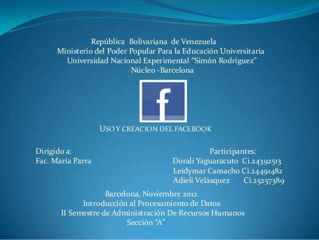 República Bolivariana de Venezuela      Ministerio del Poder Popular Para la Educación Universitaria        Universidad Na...