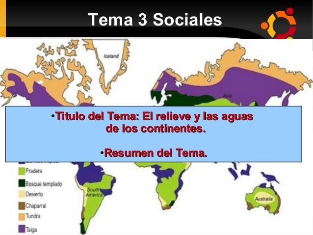 Tema 3 Sociales   ● Titulo del Tema: El relieve y las aguasTitulo del Tema: El relieve y las aguas de los continentes.de...