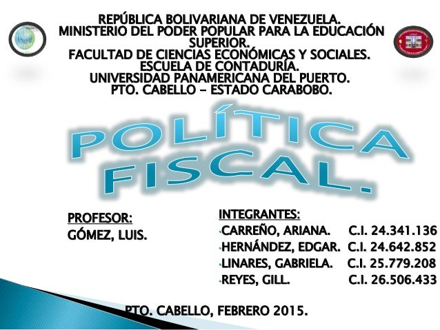 REPÚBLICA BOLIVARIANA DE VENEZUELA. MINISTERIO DEL PODER POPULAR PARA LA EDUCACIÓN SUPERIOR. FACULTAD DE CIENCIAS ECONÓMIC...