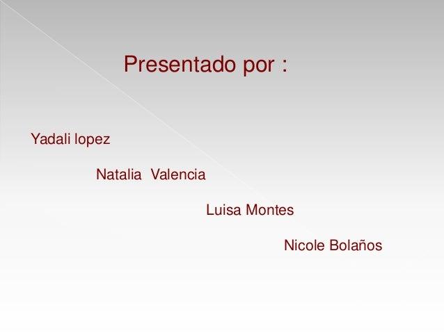 Presentado por : Yadali lopez Natalia Valencia Luisa Montes Nicole Bolaños