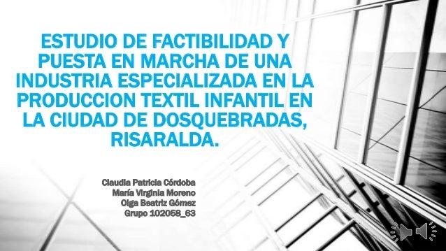 ESTUDIO DE FACTIBILIDAD YPUESTA EN MARCHA DE UNAINDUSTRIA ESPECIALIZADA EN LAPRODUCCION TEXTIL INFANTIL ENLA CIUDAD DE DOS...