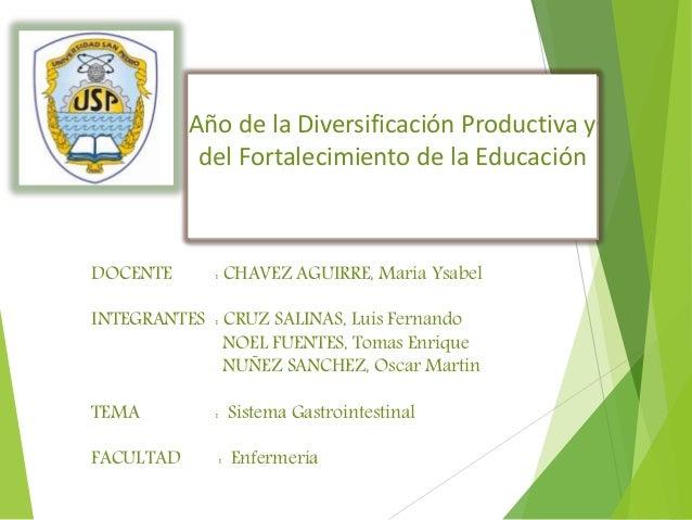 Año de la Diversificación Productiva y del Fortalecimiento de la Educación DOCENTE : CHAVEZ AGUIRRE, María Ysabel INTEGRAN...