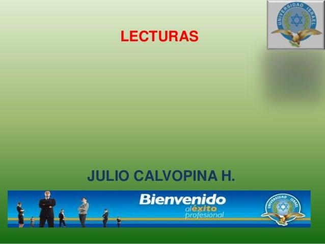 JULIO CALVOPINA H. LECTURAS