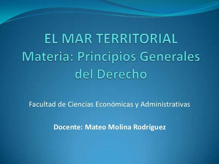 Facultad de Ciencias Económicas y Administrativas       Docente: Mateo Molina Rodríguez