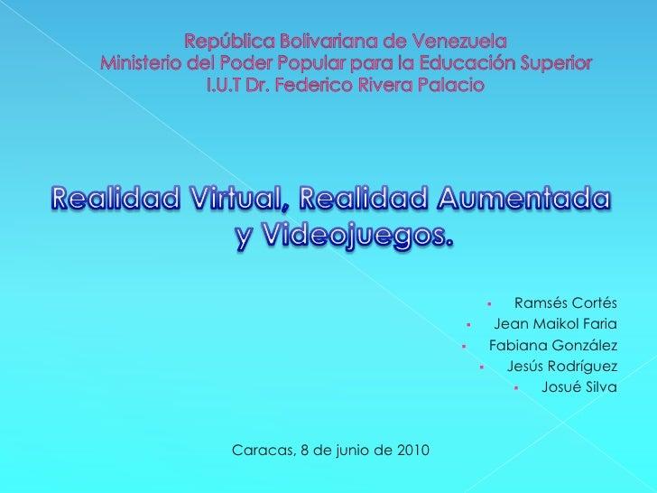 República Bolivariana de VenezuelaMinisterio del Poder Popular para la Educación SuperiorI.U.T Dr. Federico Rivera Palacio...