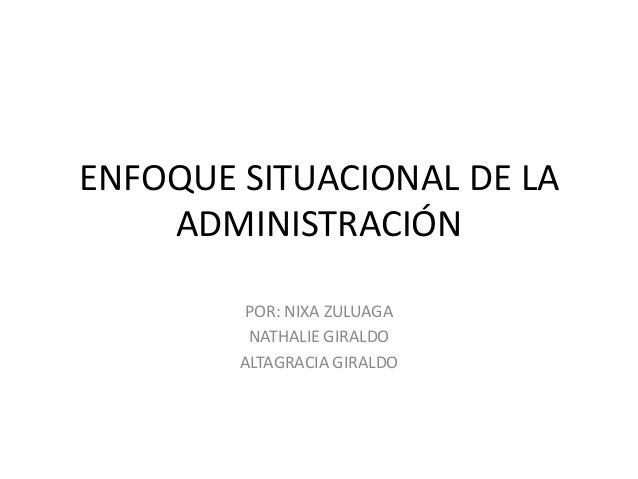 ENFOQUE SITUACIONAL DE LAADMINISTRACIÓNPOR: NIXA ZULUAGANATHALIE GIRALDOALTAGRACIA GIRALDO