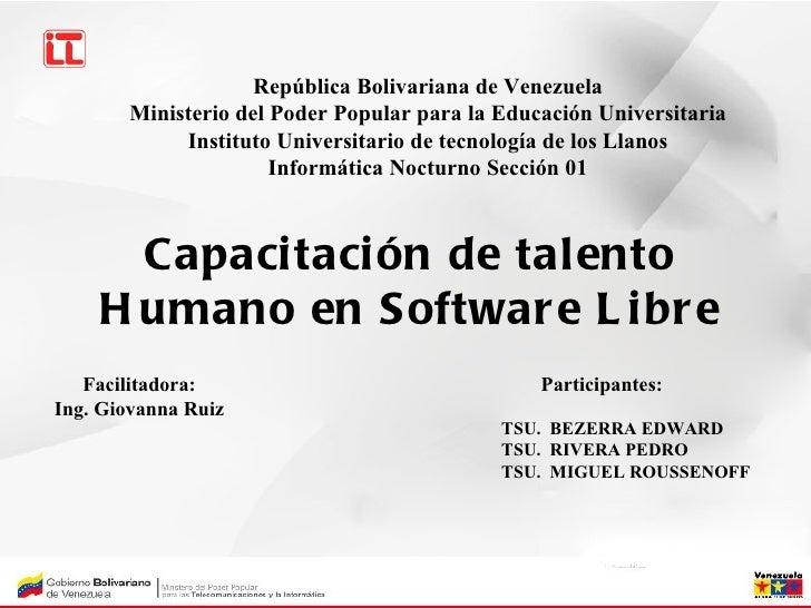 República Bolivariana de Venezuela       Ministerio del Poder Popular para la Educación Universitaria            Instituto...