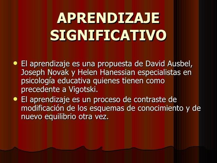 APRENDIZAJE SIGNIFICATIVO <ul><li>El aprendizaje es una propuesta de David Ausbel, Joseph Novak y Helen Hanessian especial...