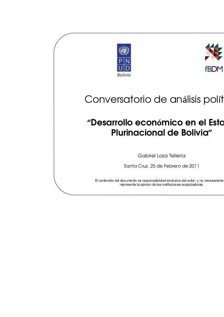 """""""Desarrollo económico en el Estado Plurinacional de Bolivia"""""""