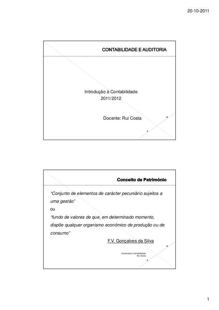 20-10-2011                 Introdução à Contabilidade                         2011/2012                          Docente: ...