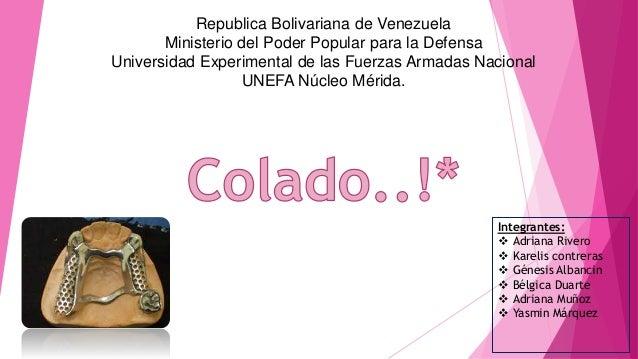 Republica Bolivariana de Venezuela Ministerio del Poder Popular para la Defensa Universidad Experimental de las Fuerzas Ar...