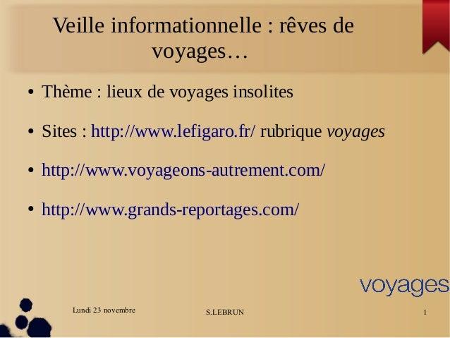 Lundi 23 novembre S.LEBRUN 1 Veille informationnelle : rêves de voyages… ● Thème : lieux de voyages insolites ● Sites : ht...