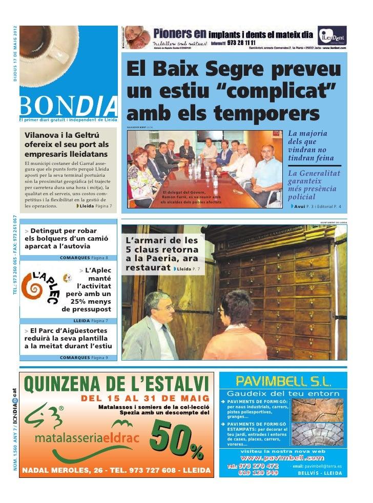 dijous 17 DE maig 2012                                                                                       El Baix Segre...