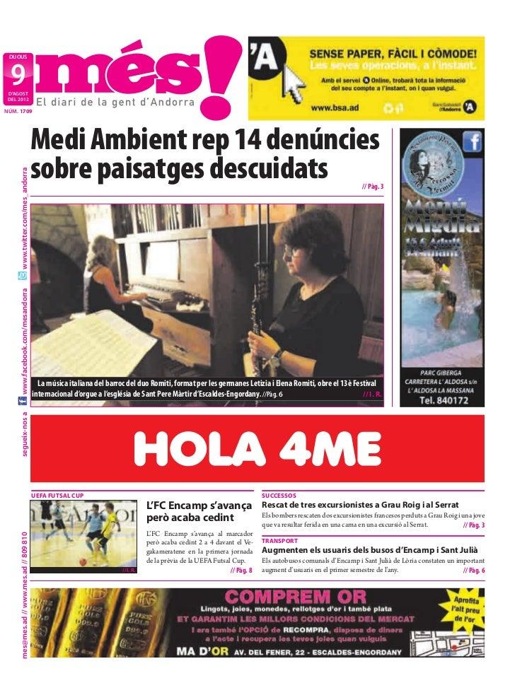 DIJOUS  9 D'AGOST DEL 2012NÚM. 1709                                           Medi Ambient rep 14 denúncies               ...