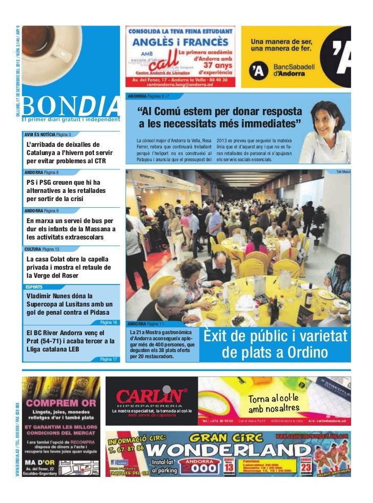 DILLUNS, 17 DE SETEMBRE DEL 2012 / NÚM. 2.146 / ANY 9                                                                     ...