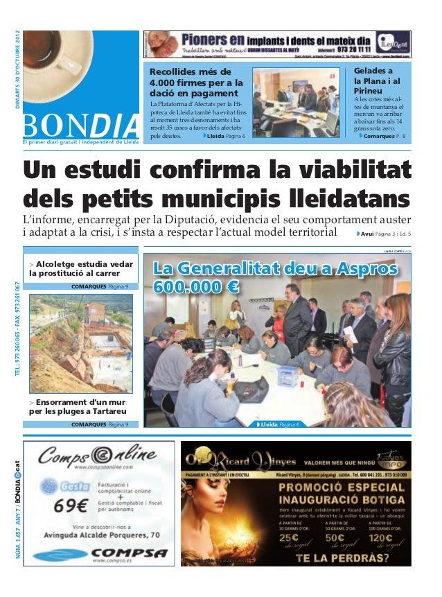 dimarts 30 D'octubre 2012                                                                        Recollides més de        ...