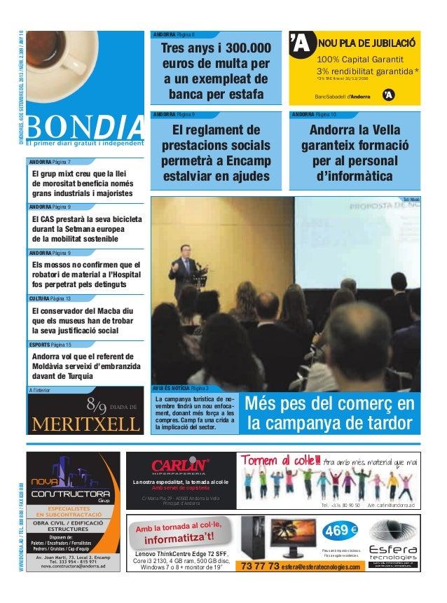 WWW.BONDIA.AD/TEL.808888/FAX828888 MERITXELL DIADA DE NOU PLA DE JUBILACIÓ 100% Capital Garantit 3% rendibilitat garantida...